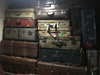 Nice Selection of Victorian Steamer Trunks and Leather Suitcases