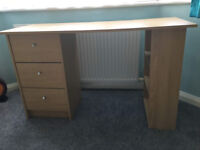 Oak colour desk with drawers and shelves