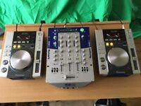 2 Pioneer CDJ200 Mixing Decks Players & Numark DXM09 Mixer+Sennheiser Headphones+Ultimax ProStand