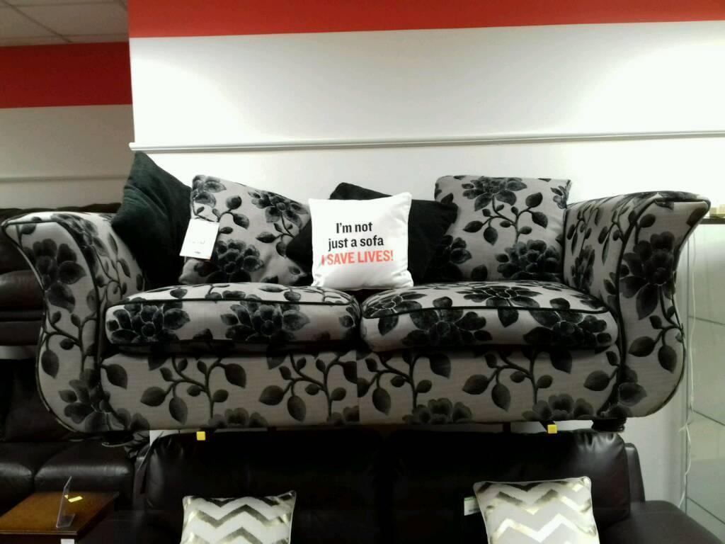 3 Seater Sofa In Grey And Black Fl Pattern British Heart Foundation Sco39426