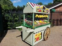 Wooden Market Display Cart, stall, on casters with removable cart wheels