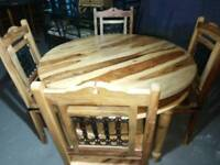 Stunning jali sheesham round solid wood dinning table and 4 chairs