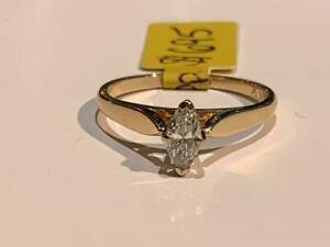 #183 14K YELLOW & WHITE GOLD LADIES MARQUISE DIAMOND ENGAGEMENT RING *SIZE 6 1/4* APPRAISED AT $1950 SELLING FOR $695