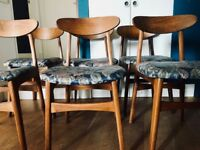 Reupholstered 1960s teak dining chairs set of 6