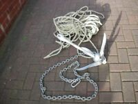 FOR SALE ANCHOR, CHAIN, AND LONG ROPE.