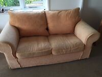 2 very comfy apricot / pale coral coloured sofas FREE!!