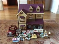 Sylvanian House with furniture and car