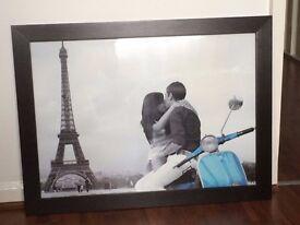 Glass black wood framed picture
