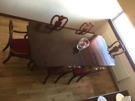Mahogany dining table and sideboard