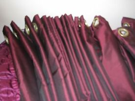 A PAIR OF STUNNING WINE CURTAINS