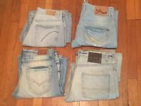 4 pairs of worn men's sandblasted jeans. Various sizes. All in good condition. No offers