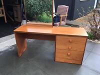 Stag chest of drawers, dressing table, mirror and stool