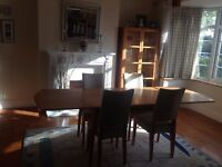 Beach Dining Room Table, 4 chairs, sideboard and glass fronted cabinet