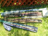 Roach pole & 4 fishing rods & extras