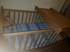 Mothercare cot with mattress and changing tabletop