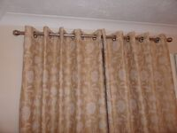 Lovely Eyelet Gold and Cream Patterned Curtains In Excellent Condition.