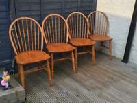 four solid pine cottage style chairs