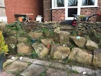 Free garden border, stone wall and rockery stone