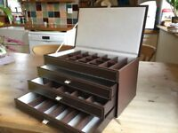 Brown Leather Jewellery Box with drawers. New.