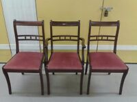 3 Regency dining chairs,Mahogany,solid wood,carved back,stable, 1 carver