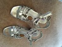 Silver sandals with decorative sparkles