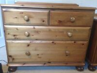 Ducal Pine Chest of Drawers, 4 drawers, 2 large and 2 small.