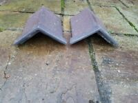 Two Reclaimed Capped Ridge Roof Clay Tiles.