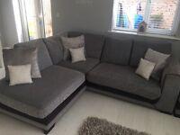 SCS grey corner sofa and footstool