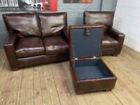 LEATHER SOFA AND ARMCHAIR + FOOTSTOOL 3 PIECE SET REAL NICE HARDLY USED