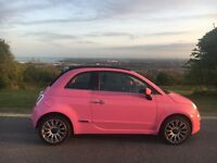 Pink Fiat 500 convertible- summers here- roof down!!!