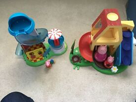 Peppa pig weebles play set and helter skelter play set with figures