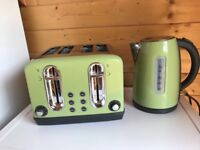 Toaster and kettle in green