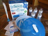 Dr Brown Deluxe Newborn set - bottles and steriliser - nearly new