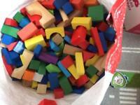 Large bag of wooden blocks
