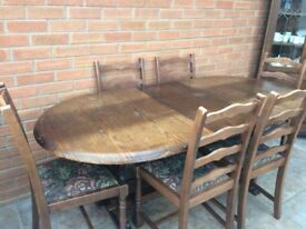 New Plan extendable dining table, 6 ladder back chairs & matching corner