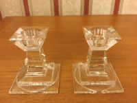 A Pair of Stunning Glass Candlesticks in Excellent Condition