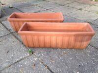 2 Terracotta Clay Window Planter Pots