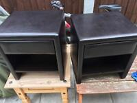 Pair faux leather bedside tables.