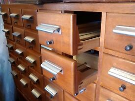 Vintage Library Index Card Filing Drawers / Cabinet