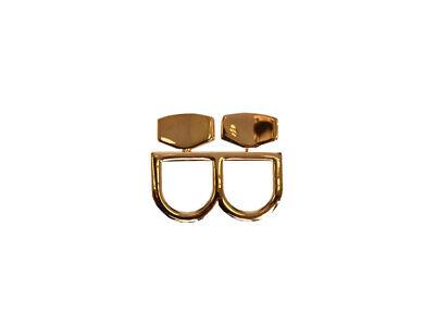 Maison Margiela Womens Two Finger S54UQ0006 Ring Regular Gold Size M