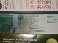 2 x Wimbledon tennis tickets No.1 Court Saturday 7th July