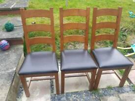 3 x solid wood chairs