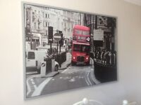 VERY LARGE IKEA PICTURE RED LONDON BUS WITH CHROME FRAME