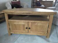 Oak corner TV cupboard