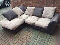 Dark brown and beige corner sofa