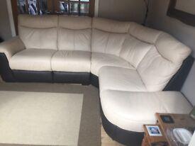 Leather left hand facing arm 3 piece sofa