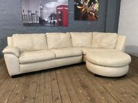 DESIGNER CREAM LEATHER CORNER SOFA CHIASE CAN BE USES AS FOOTSTOOL