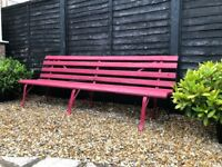 French Garden Bench, Cast Iron and Wooden painted Moroccan Red