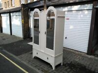 Shabby Chic Double Mirrored Wardrobe with Drawer