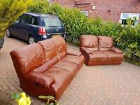 3+2 brown soft leather reclining sofa in as new condition